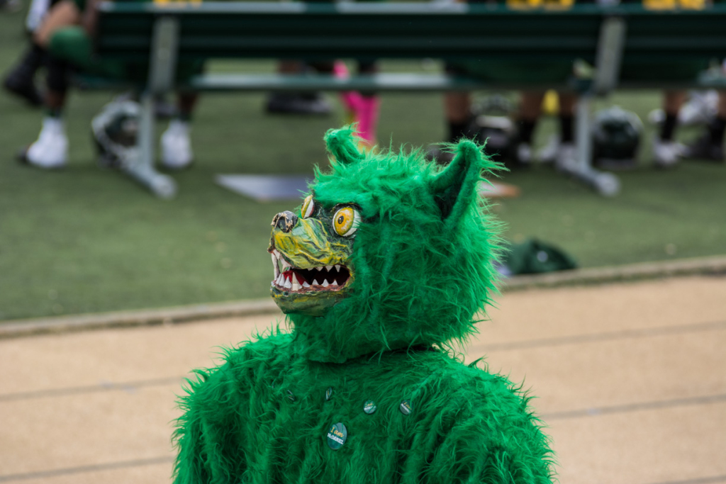 On Halloween, McDaniel had a football game. Here, the Green Terror patrols the event.