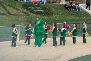 The Green Terror helped bolster fun, positive morale among the tailgating crowds at Saturday's game.