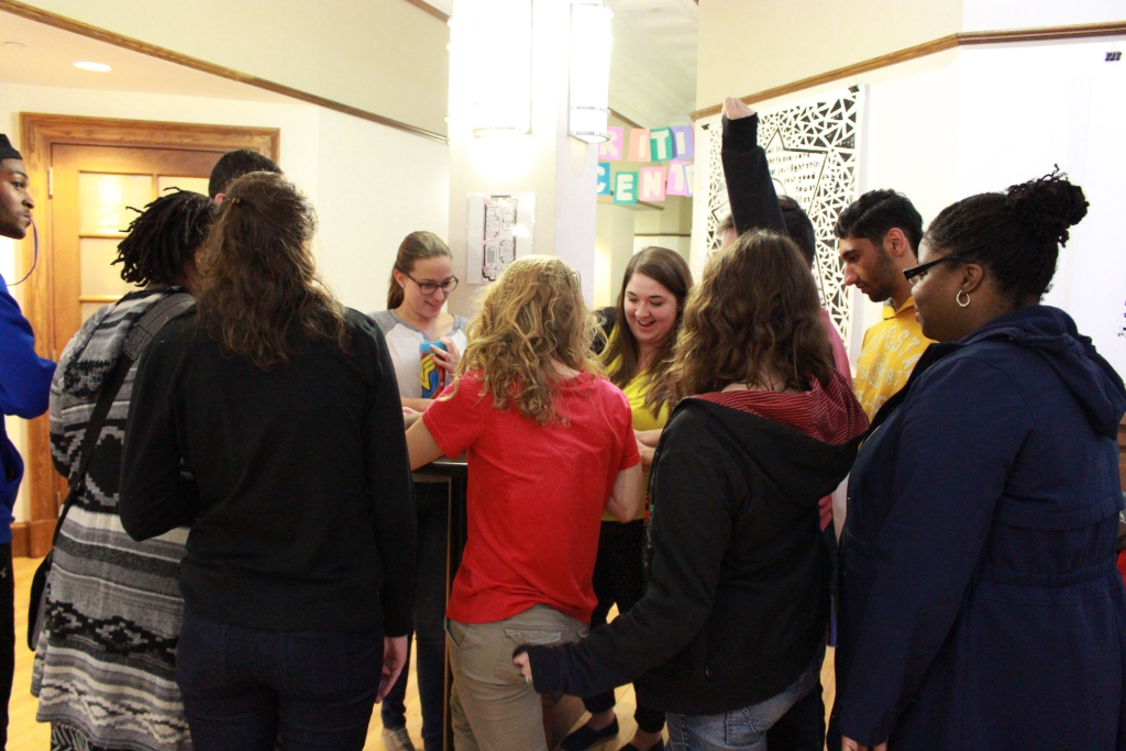 A group of students playing one of the games at the event. Photo by Jimmy Calderon