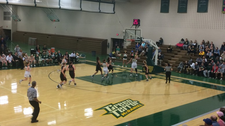 The Green Terror women begin look to tie the game during their comeback against the Ursinus Bears.