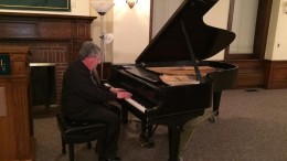 Dr. Kreider performing Schumann's Fantasy in C Major, Op. 17. Photo by Emma Carter