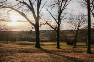 The sun sets over the McDaniel Golf Course
