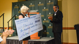 Senior Nicole Rutherford is awarded the $10,000 grand prize. Photo by Kyle Parks.