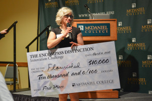 Nicole Rutherford talks after winning the grand prize. Photo by Kyle Parks.
