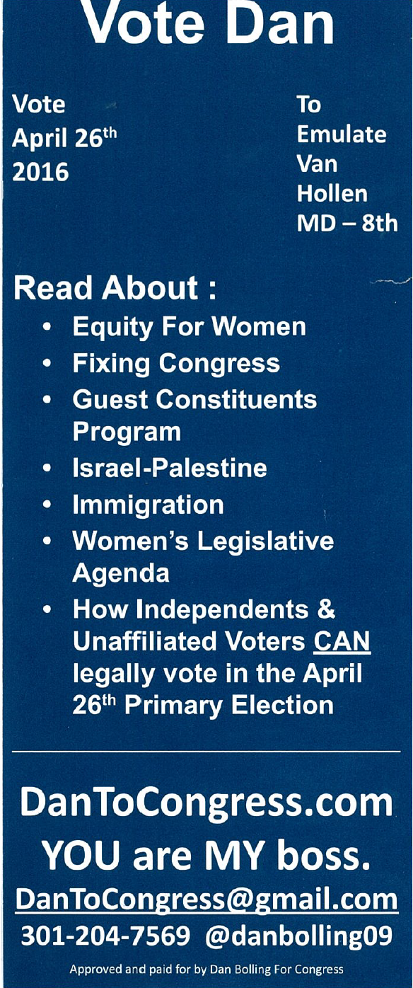 A sample brochure handed out by Bolling's campaign