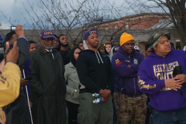 Generations of the Omega Psi Phi brotherhood show support for their new brothers. Photo y Jada Pickens.