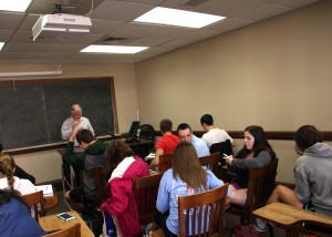 Dr. Seidel lectures to students. Photo by Jeremy Simon.