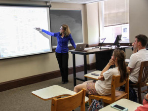 Duvall enlightens her students on the world of accounting. Photo by Jeremy Simon.