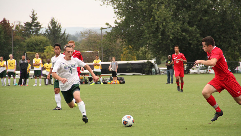 McDaniel's Michael Thompson races for the ball in Saturday's loss to Haverford. Image courtesy of Maia Hanlon.