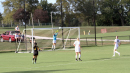 McDaniel goalie Sarah McDonald makes a leaping save in the second half of the 4-0 win on Saturday. Photo courtesy of Maia Hanlon.