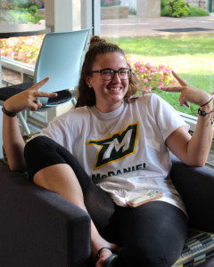 Freshman Becca MacDonald also relaxing in Decker Hall after classes.