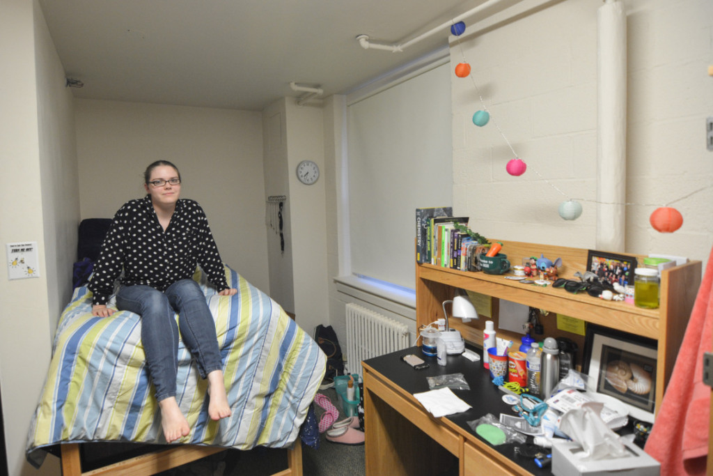 Erin Pogue hasn't added many decorations to her room yet.
