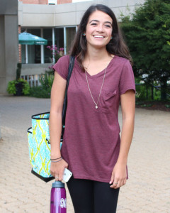 Senior Leesa Malczewski on her way to class.