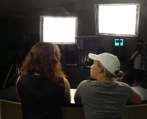 Bright lights blind Megan Davis and Haley Duff.