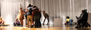 Manchester Valley students running through scenes at rehearsal. Photo by MacKenzie Farley