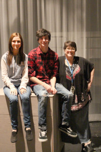 Assistant Director Chloe Boudreau, Stage Manager Lucas Chanaud posing with Mrs. Vincent. Photo by MacKenzie Farley