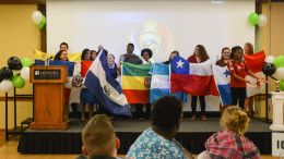 HLA members wave the flags of many Latin American nations. Photo by Kyle Parks.