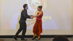 Mario Fernandez and Jasmin Chavez perform a salsa dance. Photo by Kyle Parks.