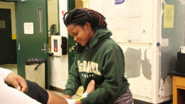 McDaniel's athletic trainers at work. Photo by Chloe Thompson.