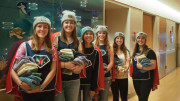 From left: Erin Nelson, Amy Watcher, Katelyn Wolf, Kelly Walsh, Rachel Kling, and Nina Breece at Sinai Hospital on Love Your Melon Day. Photo by Caitlin Eversmier.