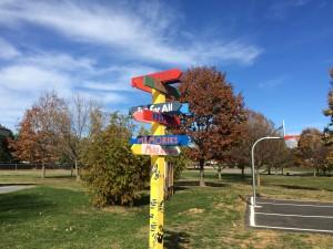 The park's directional pole encourages positive behavior among the park's visitors.