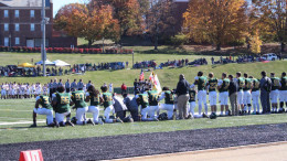 Some of McDaniel's players have taken to kneeling during the national anthem at the start of football games. Photo by Chloe Thompson.