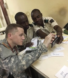 Teaching English to Gabonese guard soldiers during a CULP trip. Photo by Kyle Shaffer.