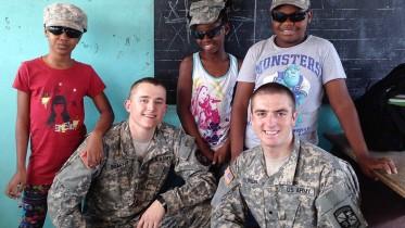 McDaniel cadet Kyle Saffer and University of Kentucky cadet Alex Guren in Gabon during a CULP trip. Photo by Kyle Shaffer.