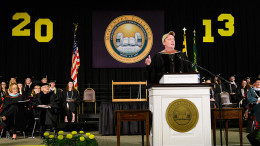 Slade speaking at the 2013 Honors Convocation. Photo courtesy of McDaniel College.