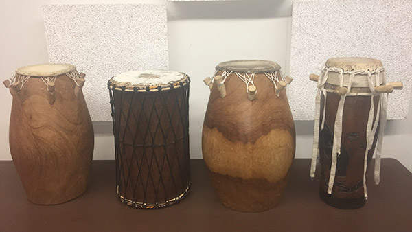 A set of drums used during the drumming class. Photo by Eric Grantland.