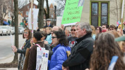 The McDaniel and Westminster communities are uniting for rallies outside the Westminster Branch Library. Photo by Kyle Parks.
