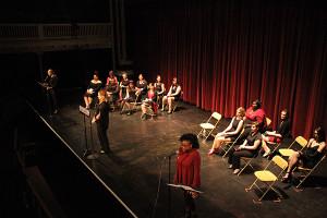 "Mary Lib Minter, Kiah Hyman, and Jill Bechtel perform ""The 'Wear and Say' Lists. Photo by Jimmy Calderon."