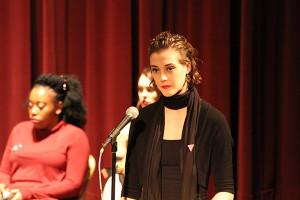Kelly Gibson pondering in between performances. Photo by Jimmy Calderon.