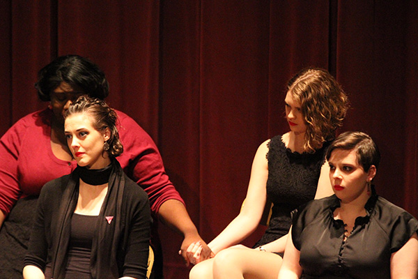 Some of the reactions from the cast during Hyman's story. Photo by Jimmy Calderon.