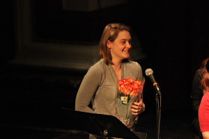 Mariah Ligas receiving flowers. Photo by Jimmy Calderon.