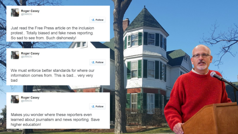 President Casey of McDaniel College released a series of Tweets claiming his own institution's paper was reporting fake news early Saturday morning. Photo by Atticus Rice.