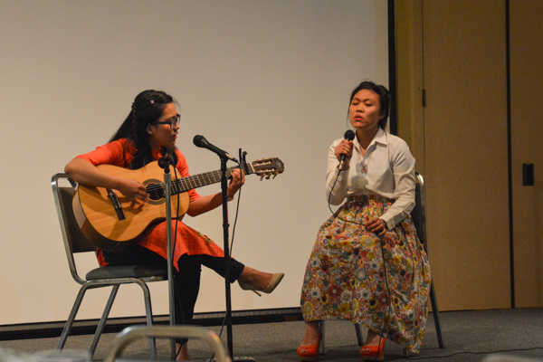 "Thao Tran and Hoang Edullantes performing ""Where Do We Go"" by Tata Young and Thanh Bui. Photo by Kyle Parks."