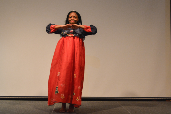 Jacqueline Yarwaye modeling traditional attire during the fashion show. Photo by Kyle Parks.