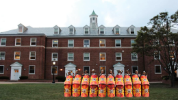 Brothers from the PHI legion gather in front of ANW Hall prior to their bid day celebrations.