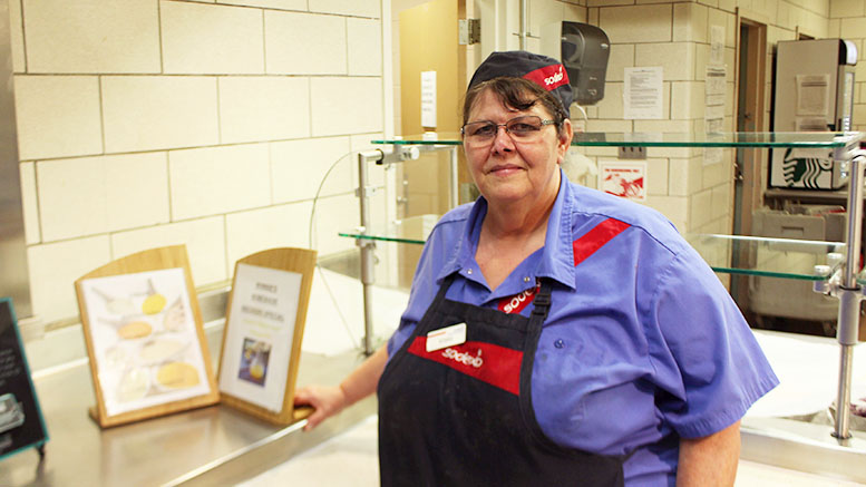 Bobbie Pfeiffer, or Ms. Bobbie, at her salad station in Englar Dining Hall. Photo by Emma Carter.