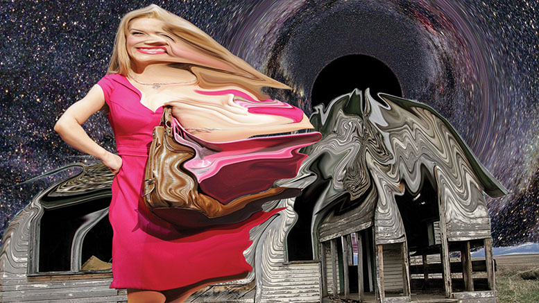 Elle Woods being pulled into a black hole, never to escape. Image by Ida Logg.