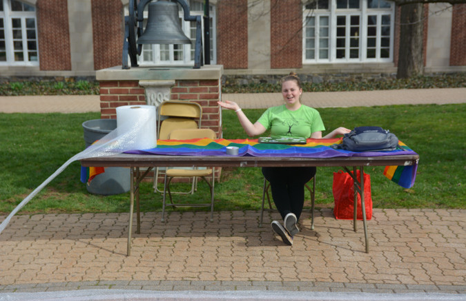 "Allies President Amanda Berger while the ""Stomp Out Homophobia"" event. Photo by Kyle Parks."