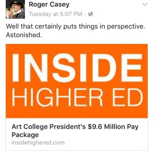 Dr. Casey realizes his nearly $400,000 salary package doesn't compare with other college presidents.