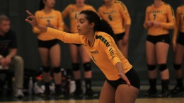Team leader Marlowe Embry during McDaniel's Sept. 20 3-1 win over Gettysburg at the Gill Center. Photo by Gunnar Ward.