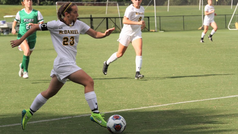 Captain Katie Kirschenmann drives down the field in McDaniel's 3-0 shutout of York (Pa.) on Wednesday evening.
