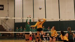 Emma Lorenzen at the net for the Terror in their 3-1 win over York on Wednesday. Photo by Atticus Rice.