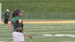 Field hockey head coach Melissa Jones on the sidelines during a 1-3 loss to Susquehanna on Sept. 13. Photo by Atticus Rice.