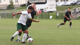 Captain Raul Escobar battles for the ball during McDaniel's Sept. 30 1-0 win over Washington College.