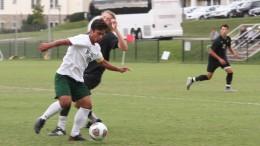 Captain Raul Escobar battles for the ball during McDaniel's Sept. 30 1-0 win over Washington College.