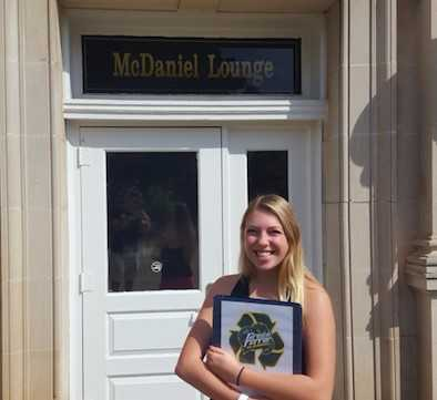 Laura DiCarlo, a Business Administration major, outside of McDaniel Lounge. Photo by Chris Anthony.